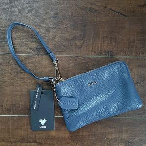Kiko Leather Blue Wristlet NWT